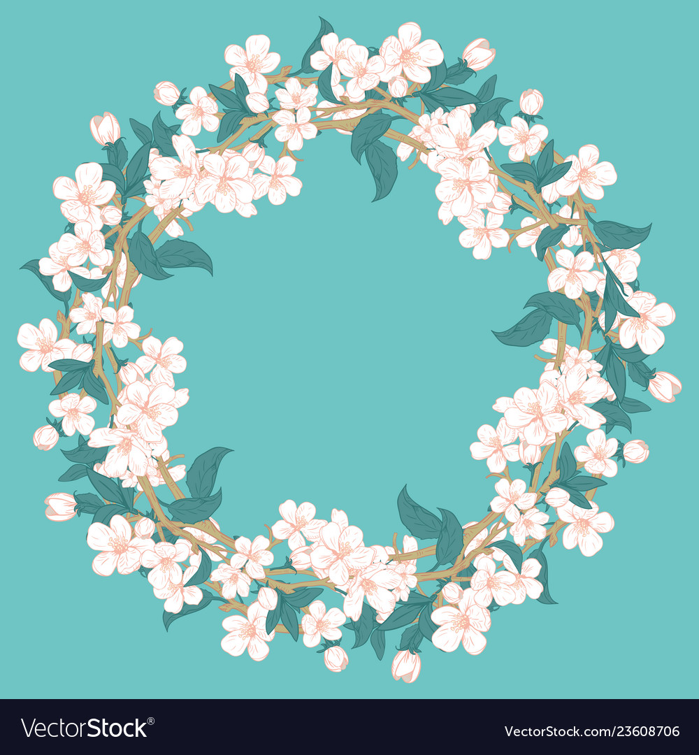 Cherry blossom round pattern on blue turquoise
