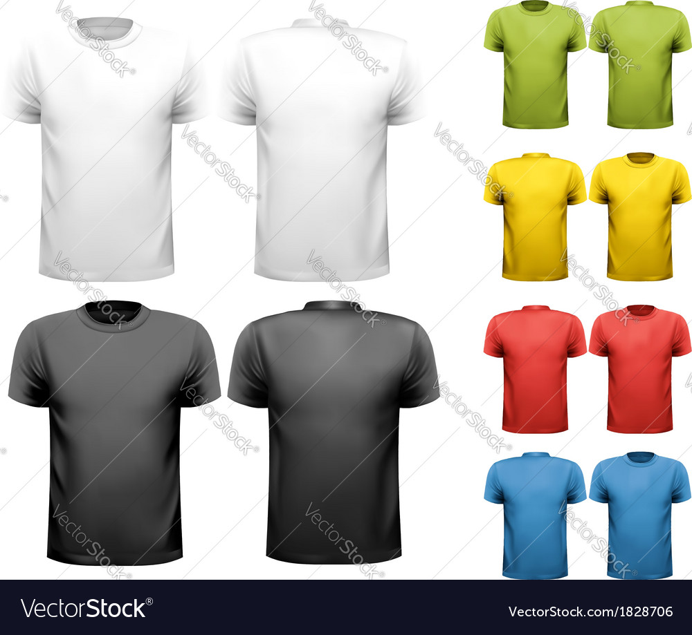 a61e4a20 Colorful male t-shirts Design template Royalty Free Vector
