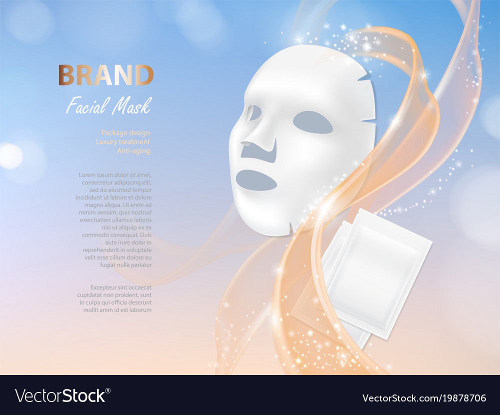 Cosmetic Banner With 3d Facial Mask Royalty Free Vector