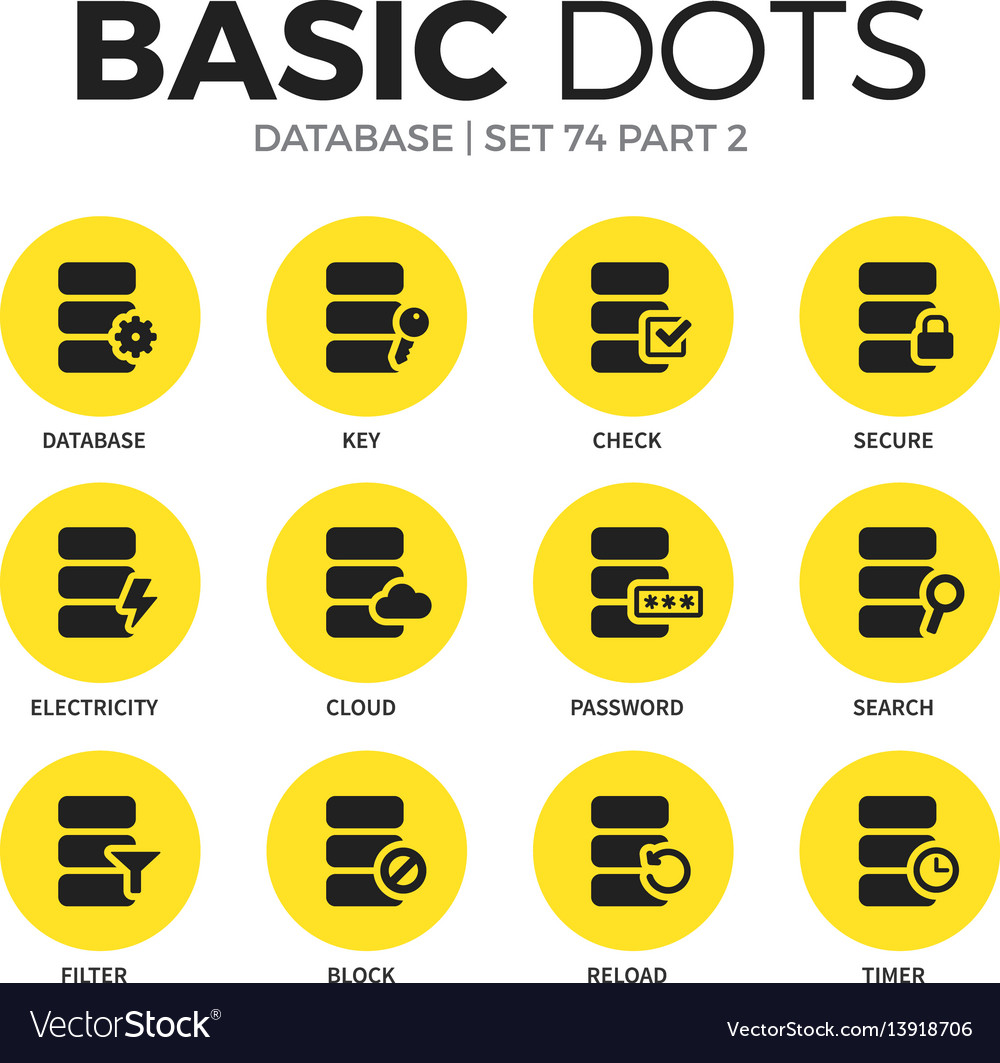 Database flat icons set