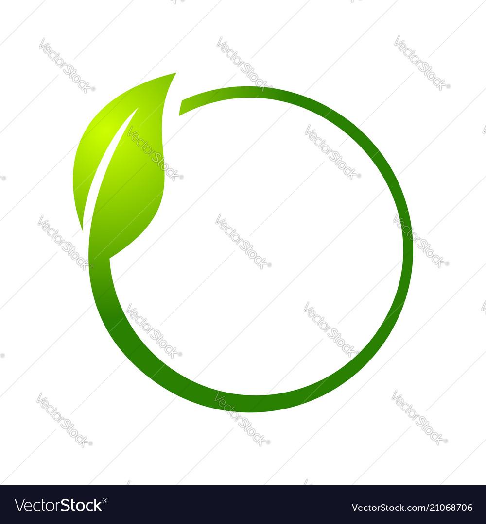 Eco leaf circle symbol logo design