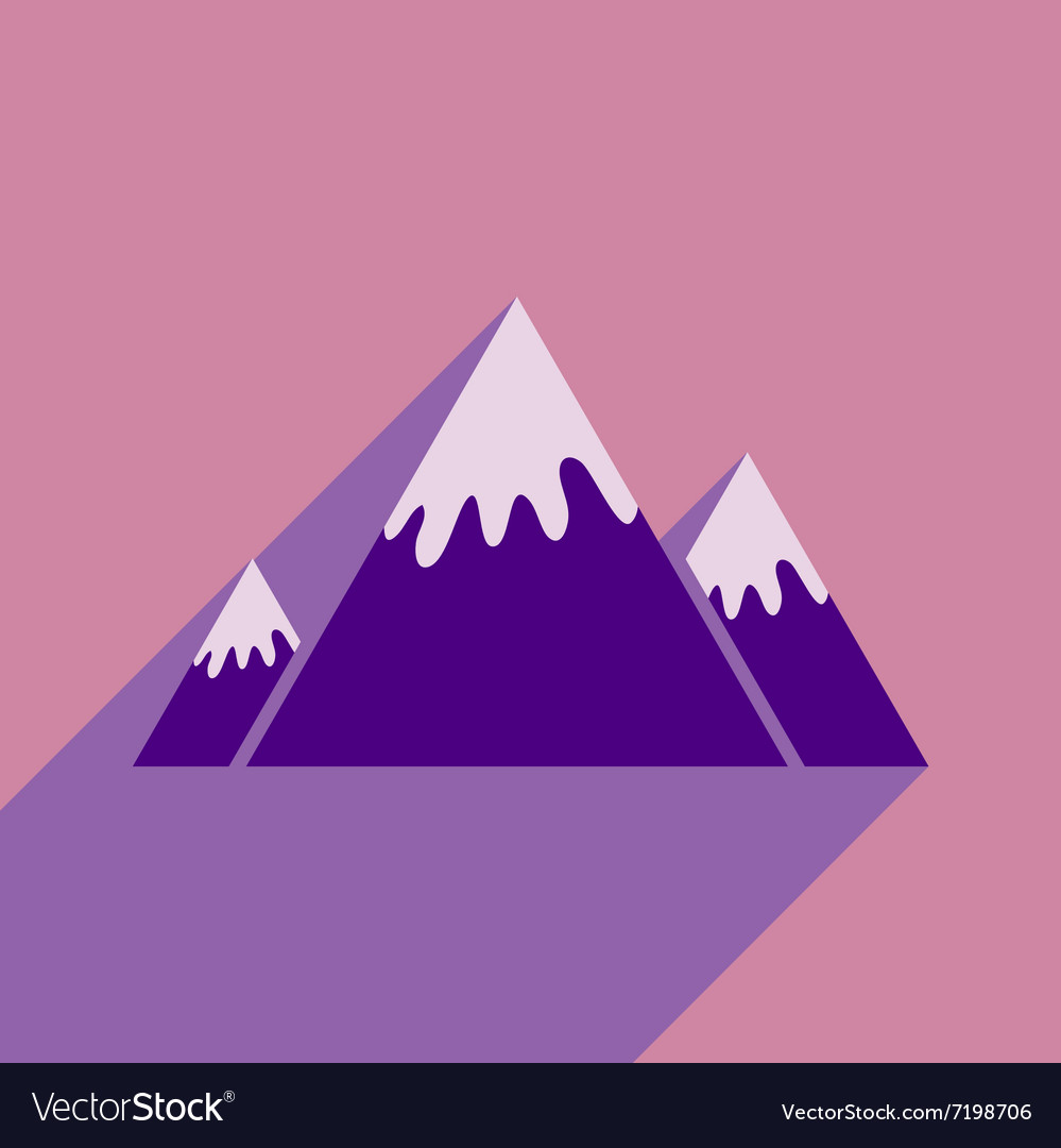 Flat icon with long shadow Canadian mountain