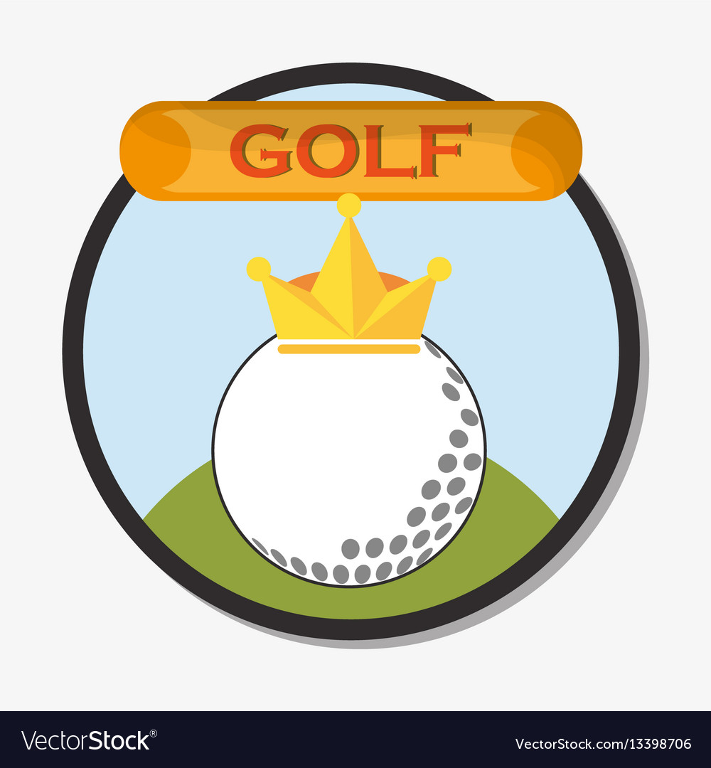 Golf ball with golden crown emblem vector image