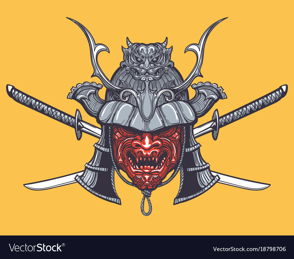 Japanese samurai mask with crossed swords