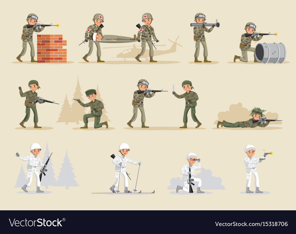 Military army collection vector image