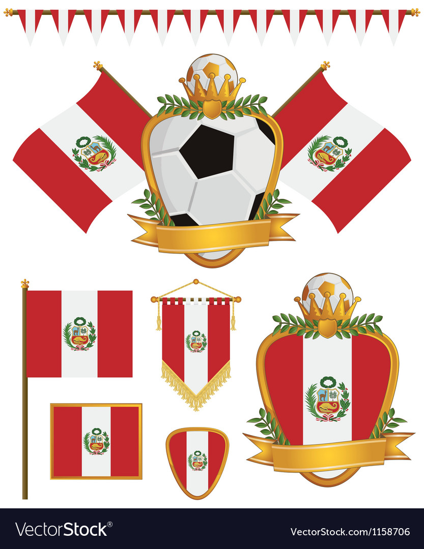 Peru flags vector image