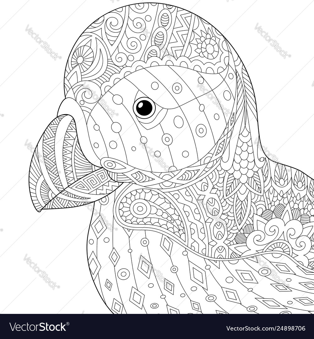 Puffin bird adult coloring page