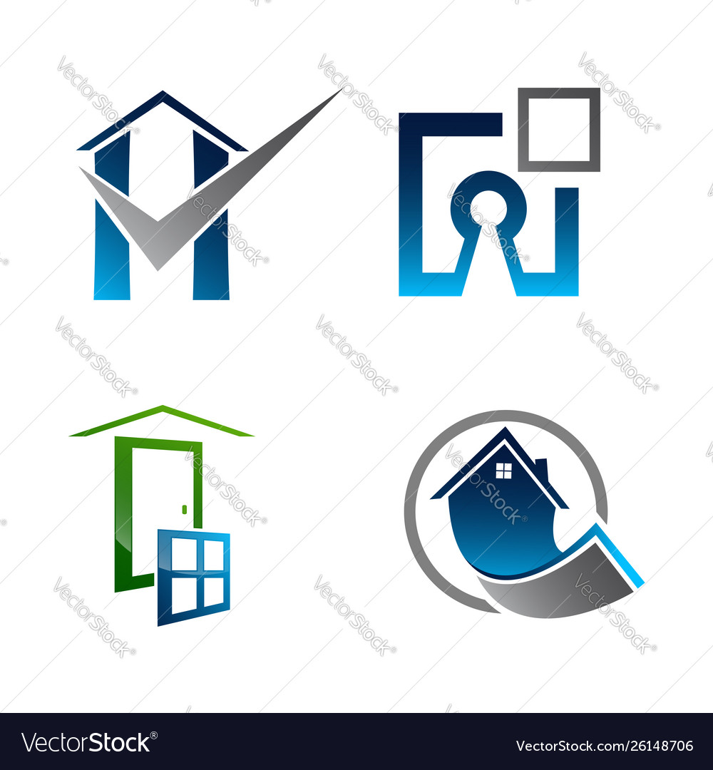 Real estate logo set building and construction