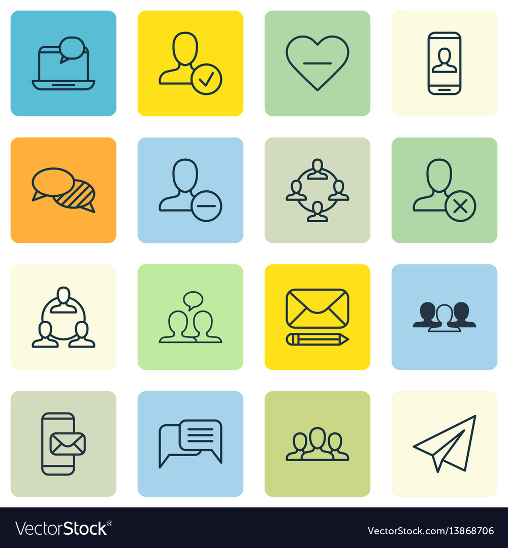 Set of 16 social icons includes society startup