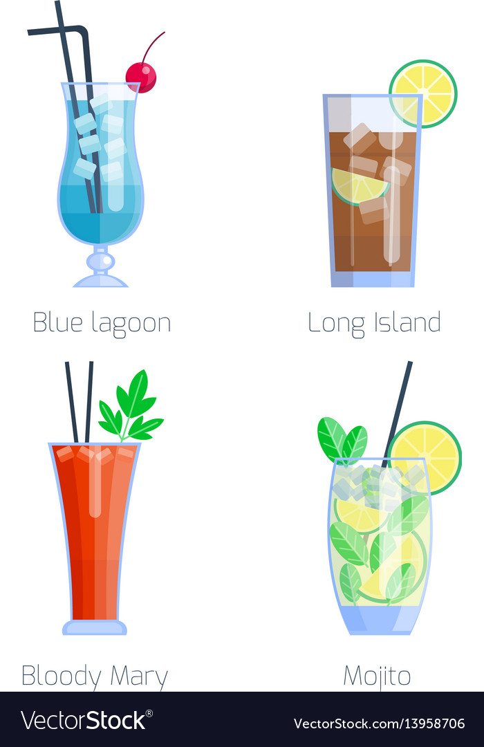 Set of alcoholic cocktails isolated fruit cold