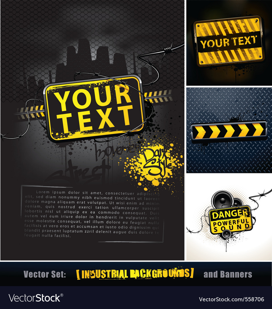 Set of industrial backgrounds and banners vector image