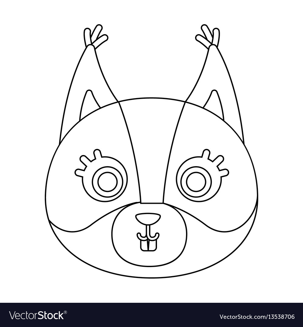 Squirrel muzzle icon in outline style isolated on