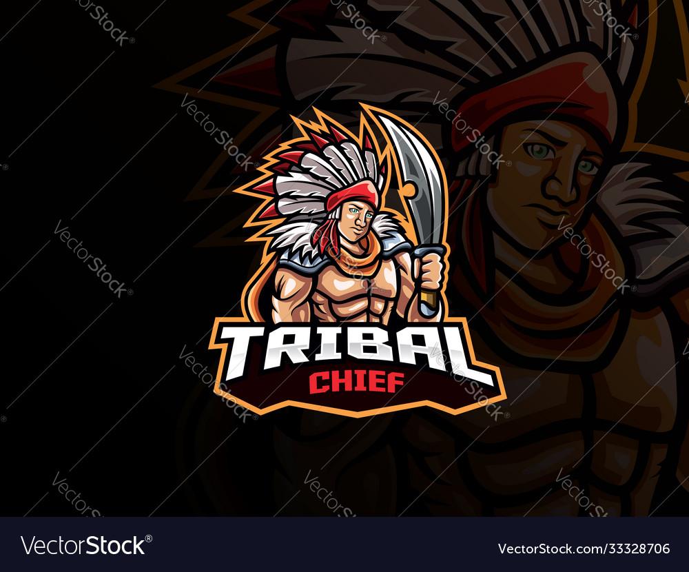 Tribal chief mascot esport logo design