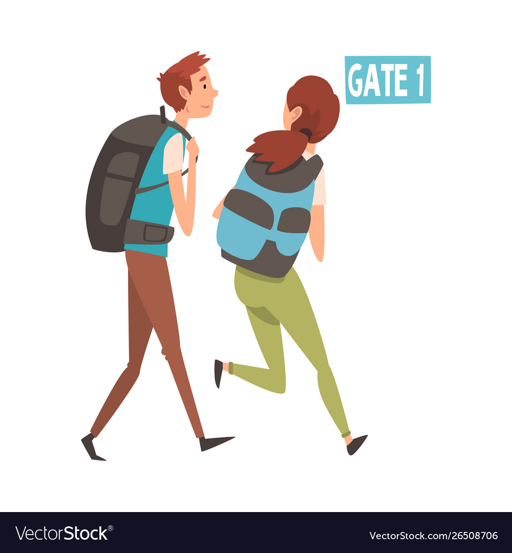 Young man and woman running with their backpacks