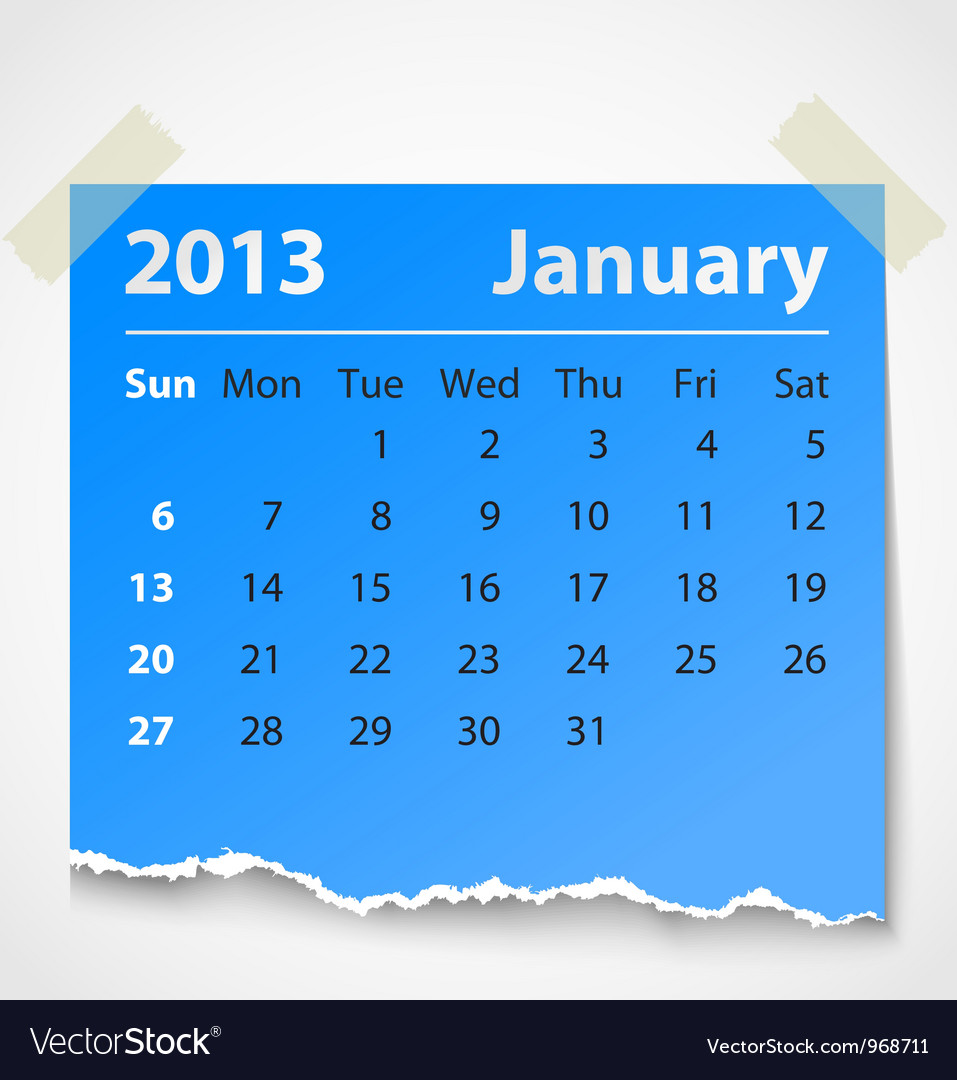 2013 calendar january colorful torn paper