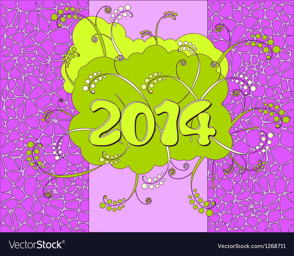 2014 - Happy New Year card in neon style vector image