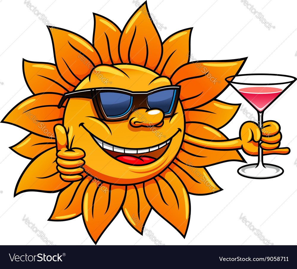 Cartoon sun in sunglasses drinking cocktail