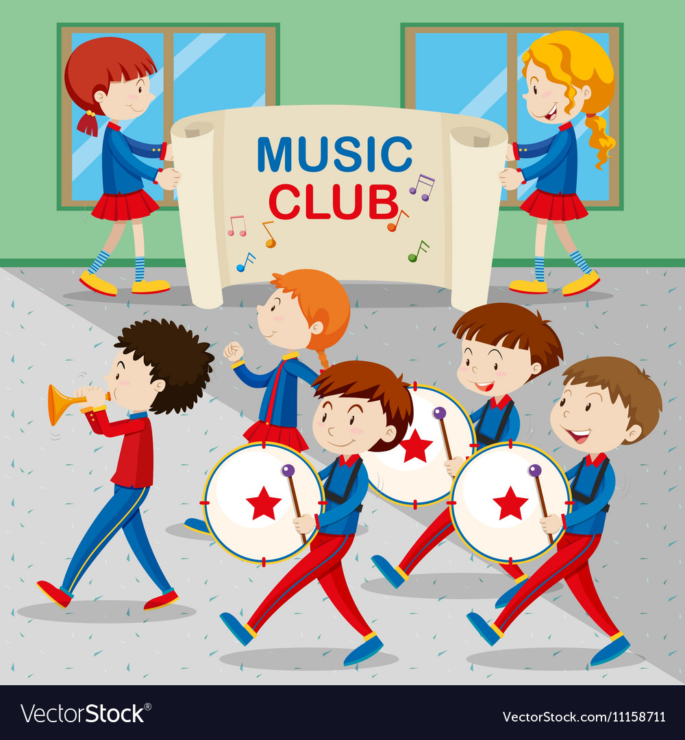 Children in the band marching