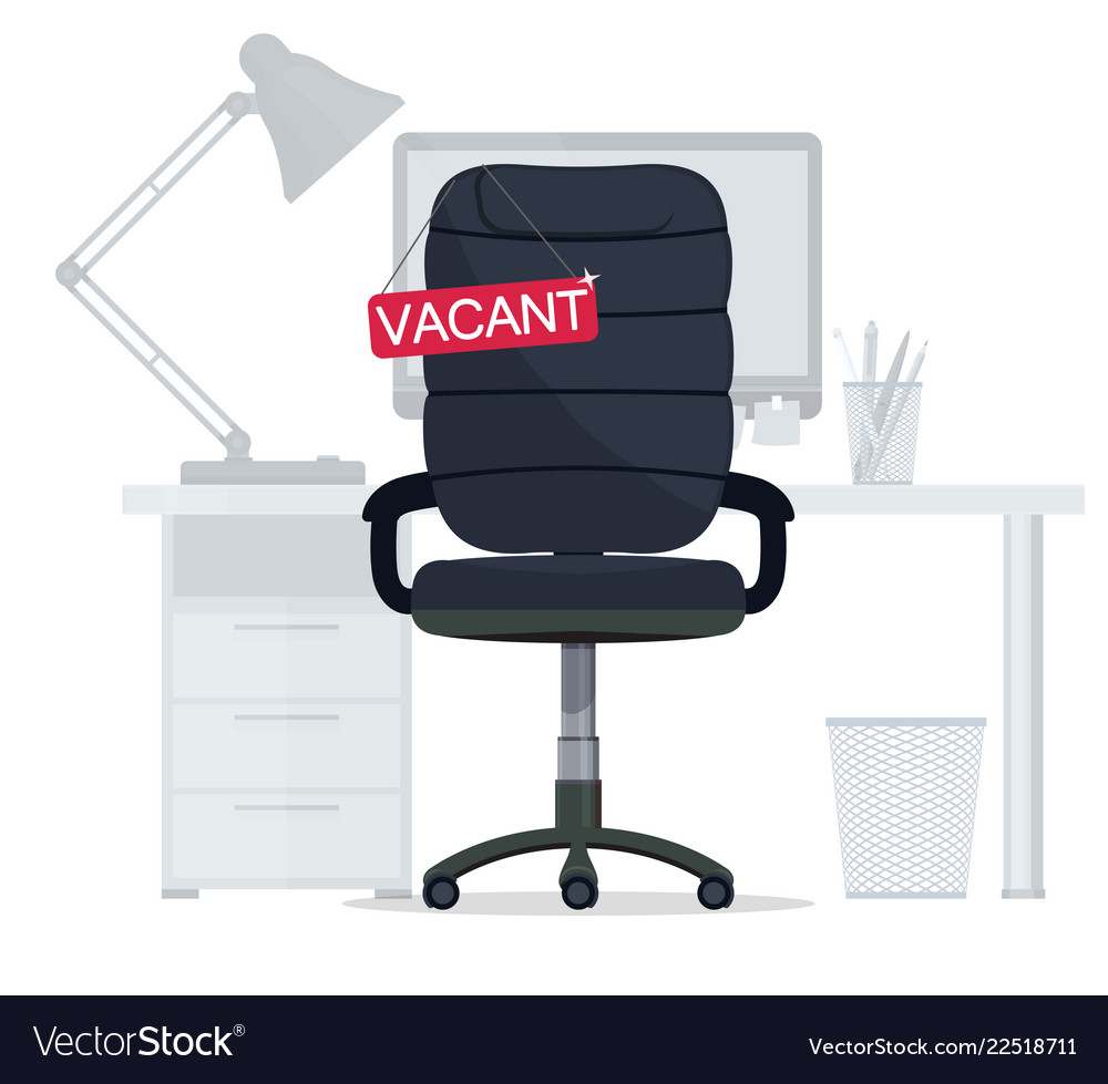 Empty office chair with vacant sign employment