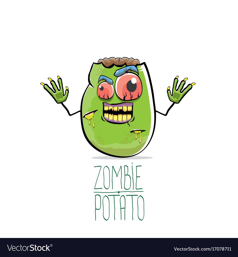Funny cartoon cute green zombie potato
