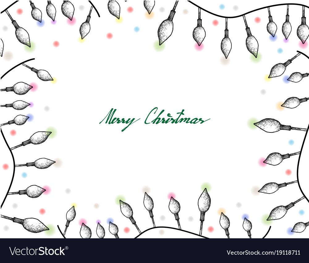 hand drawn of lovely christmas lights frame vector image - Christmas Lights Frame