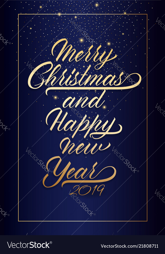 Happy new year postcard with nice lettering