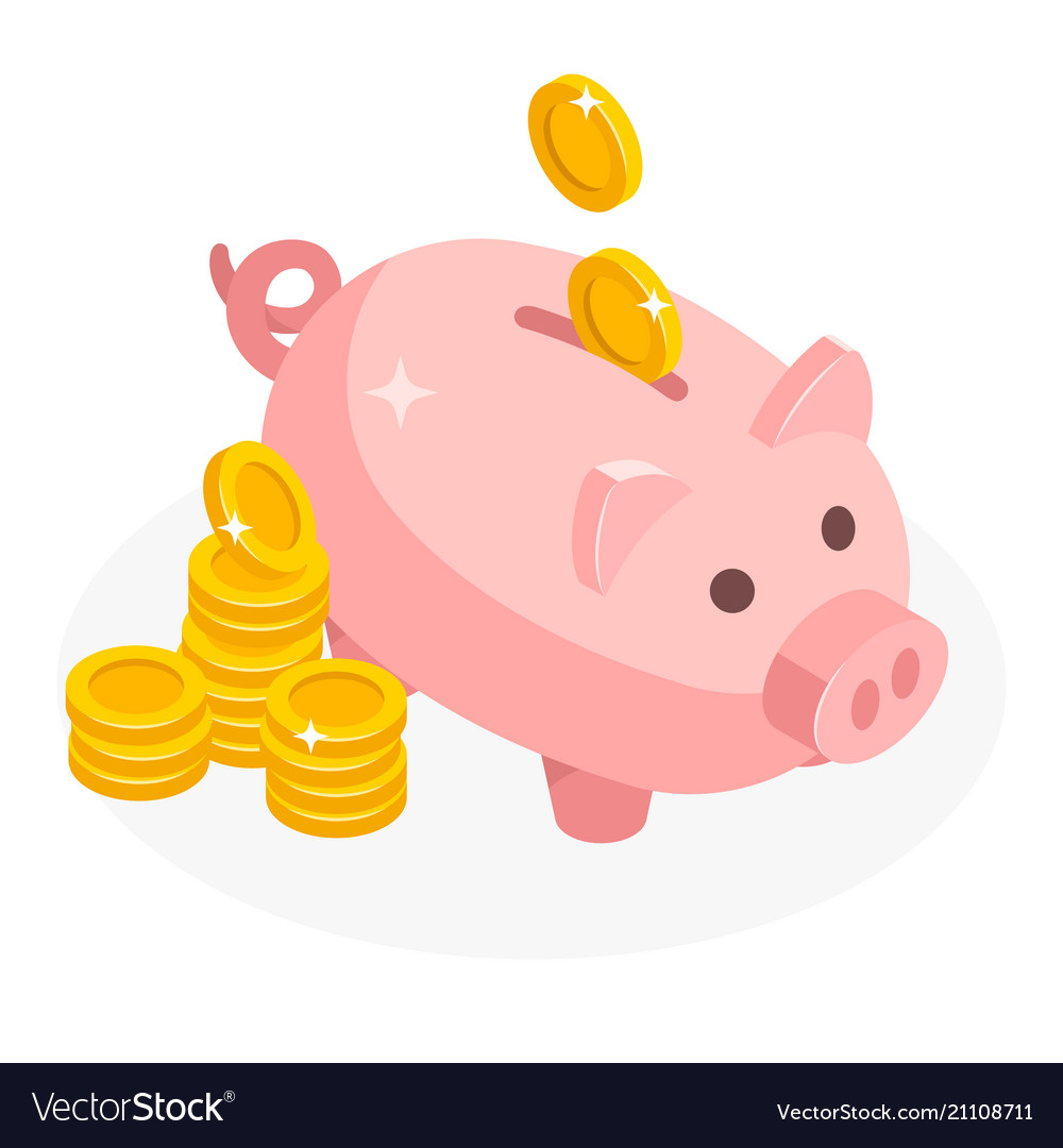 Isometric piggy bank with coins money cash