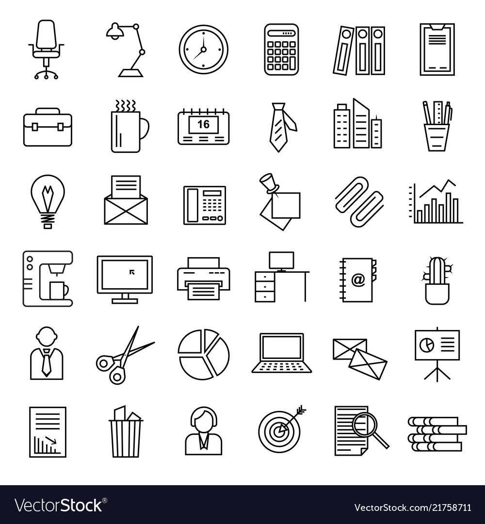 Office signs black thin line icon set