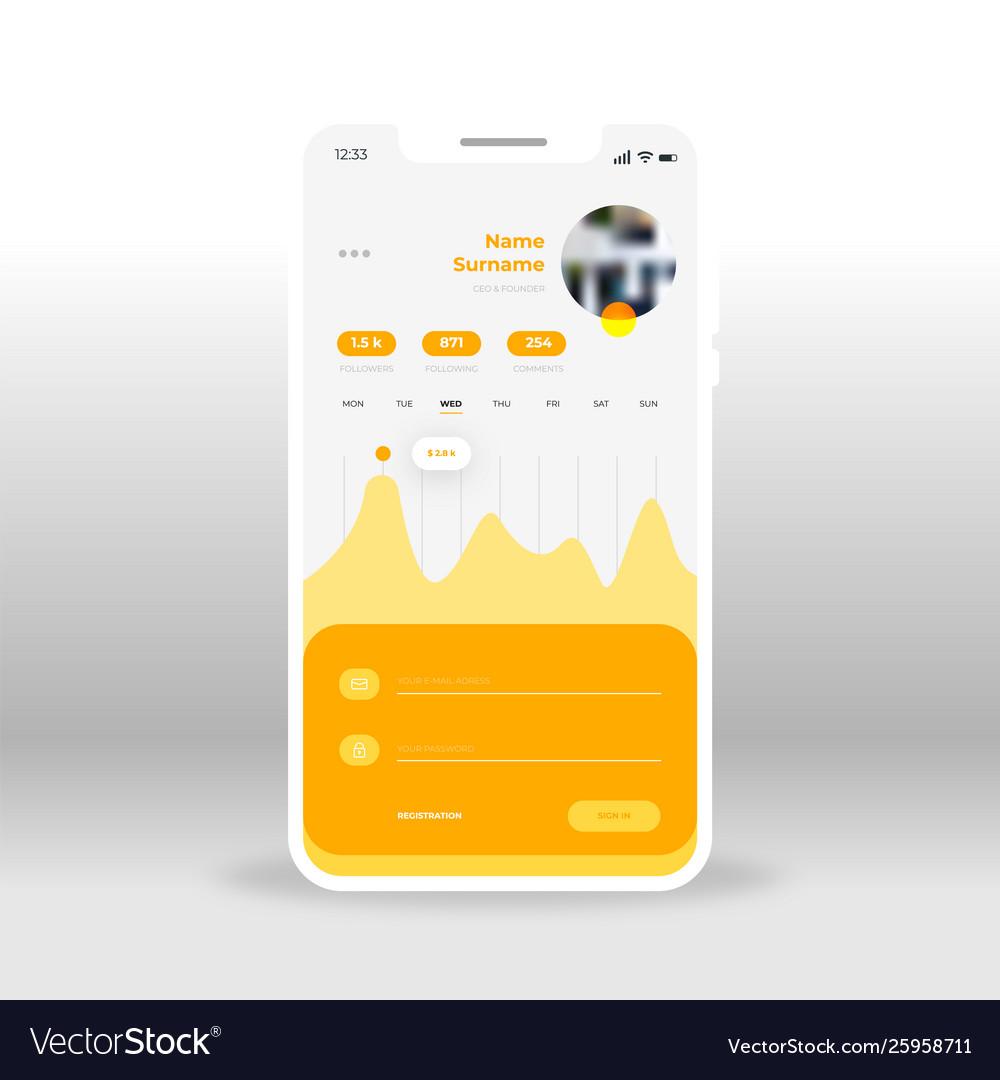 Orange and yellow economy diagram and charts ui