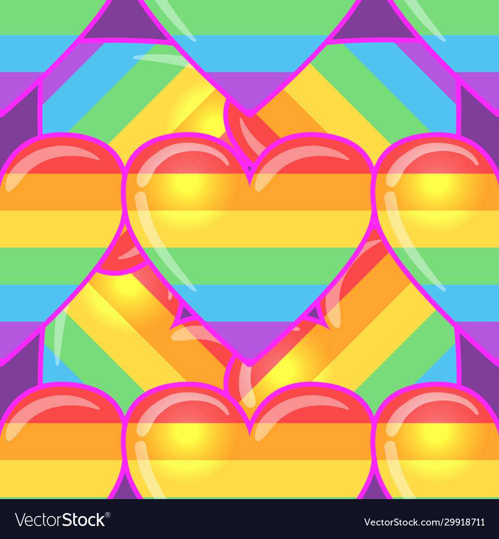 Rainbow hearts gay pride flag colored colored