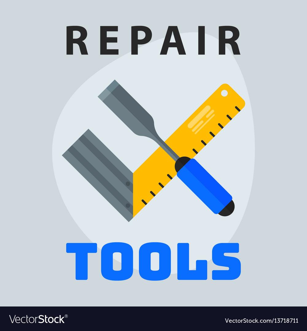 Repair tools ruler screwdriver icon creative