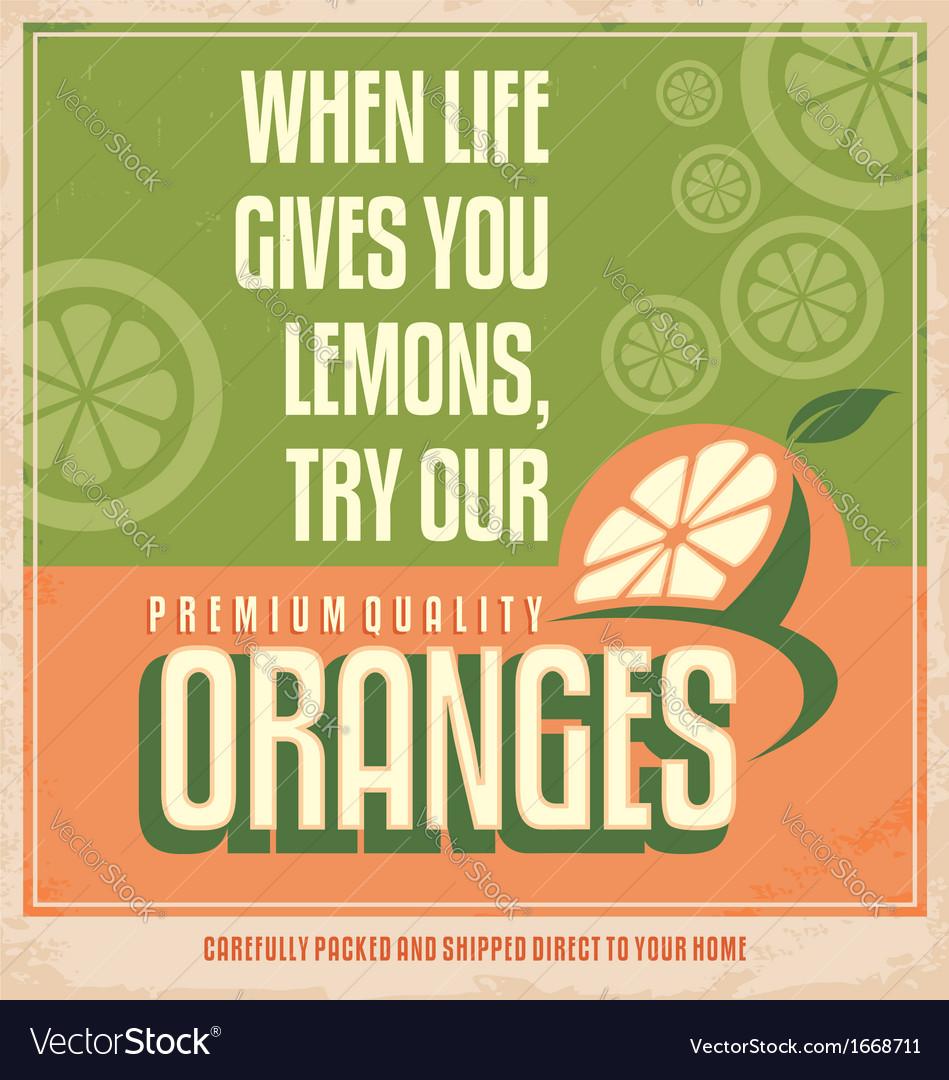 Retro orange poster design vector image