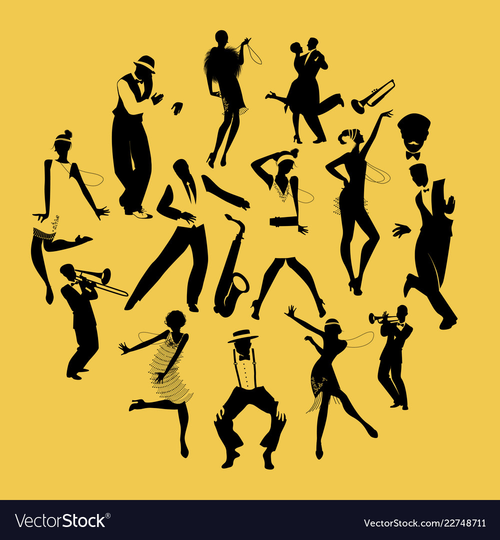 Silhouettes of dancers dancing charleston