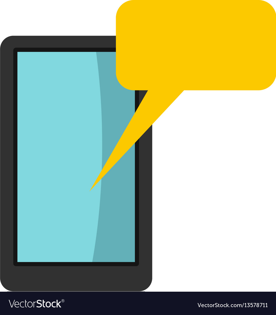 Smartphone with bubble speech icon flat style