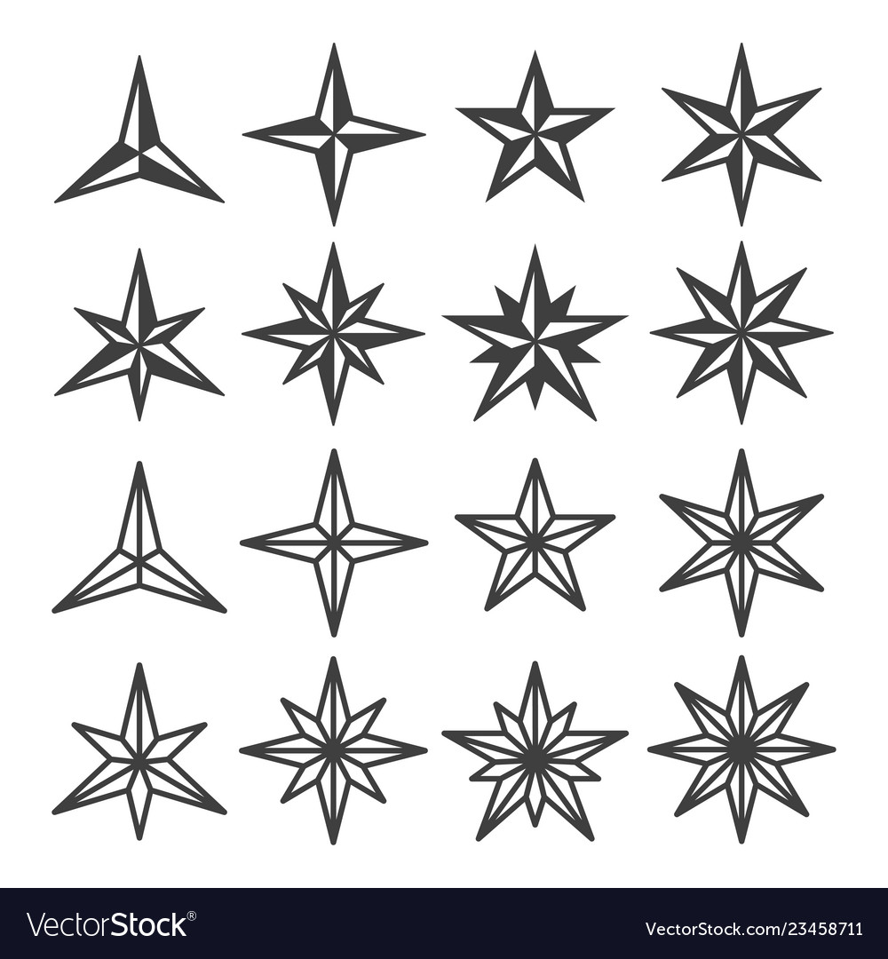 Star wind roses icon set