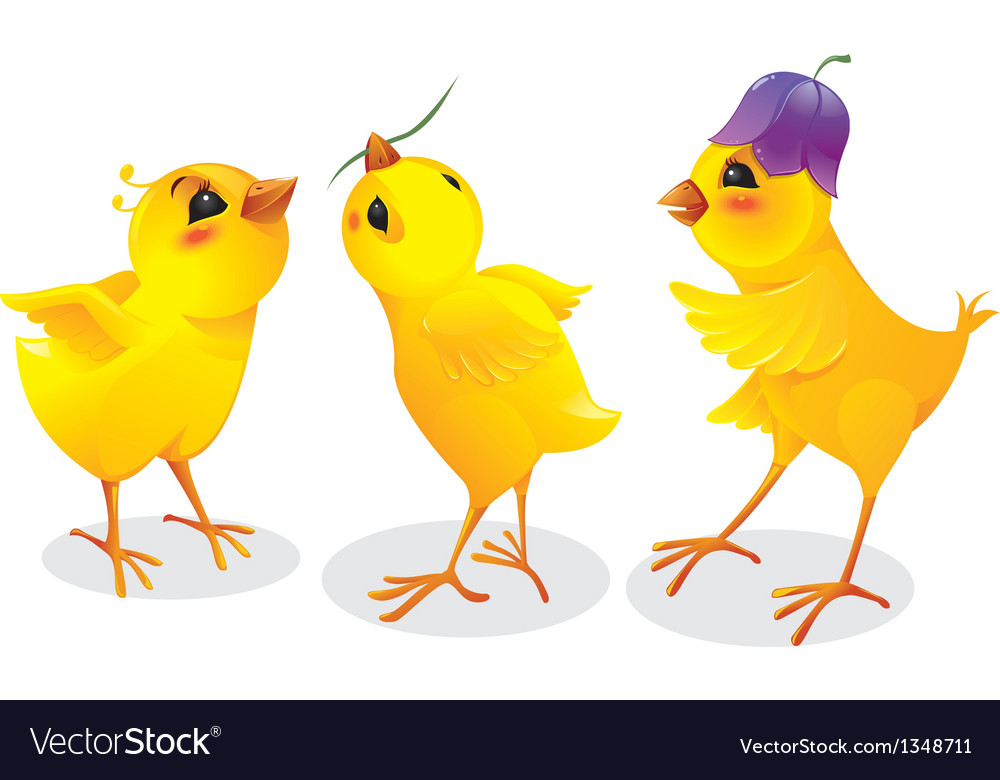Three cartoon chicken