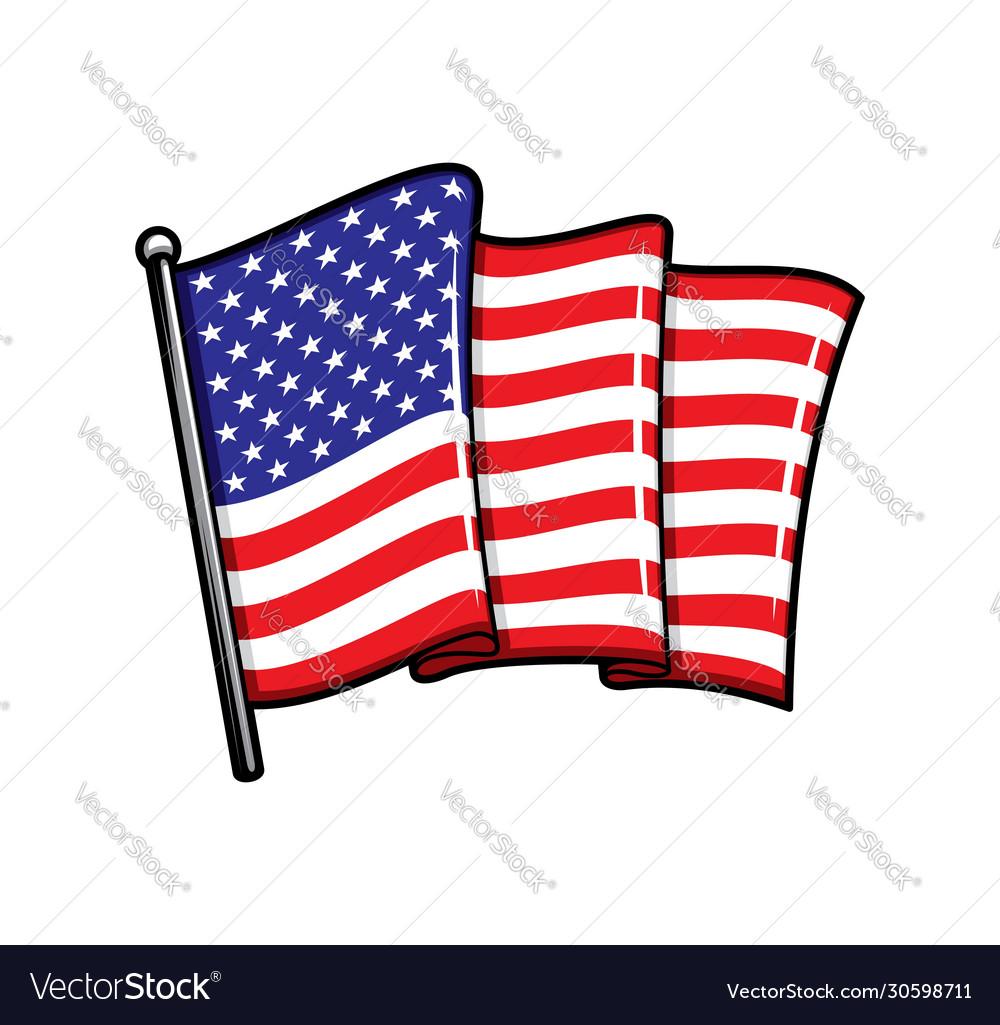 Usa flag on flagpole isolated icon