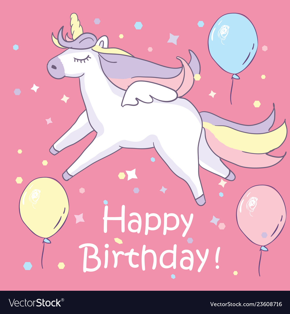 Beautiful unicorn on pink background with balloons