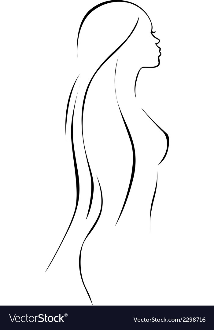 Beautiful woman - black line drawing