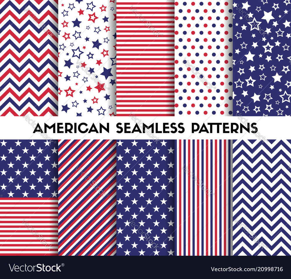 Big set of american style seamless patterns