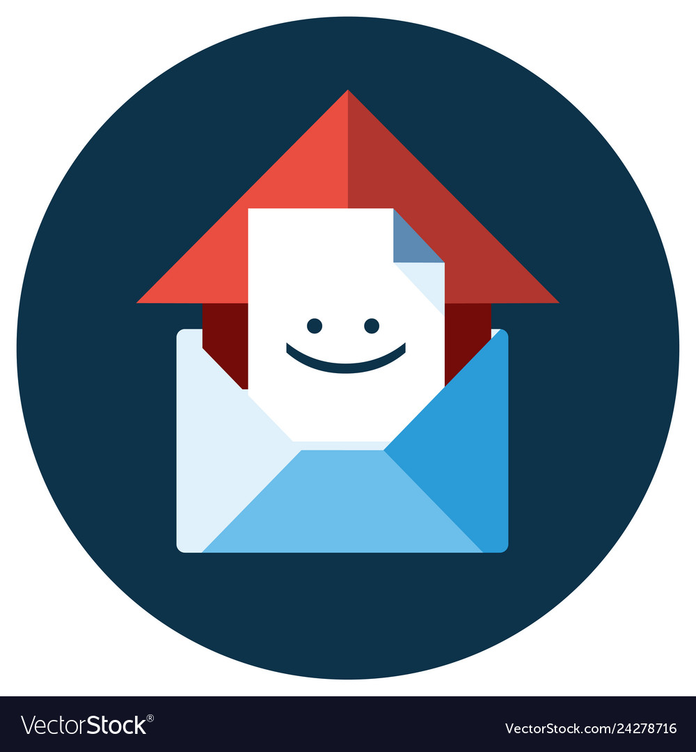 Blue flat icon open envelope and message object