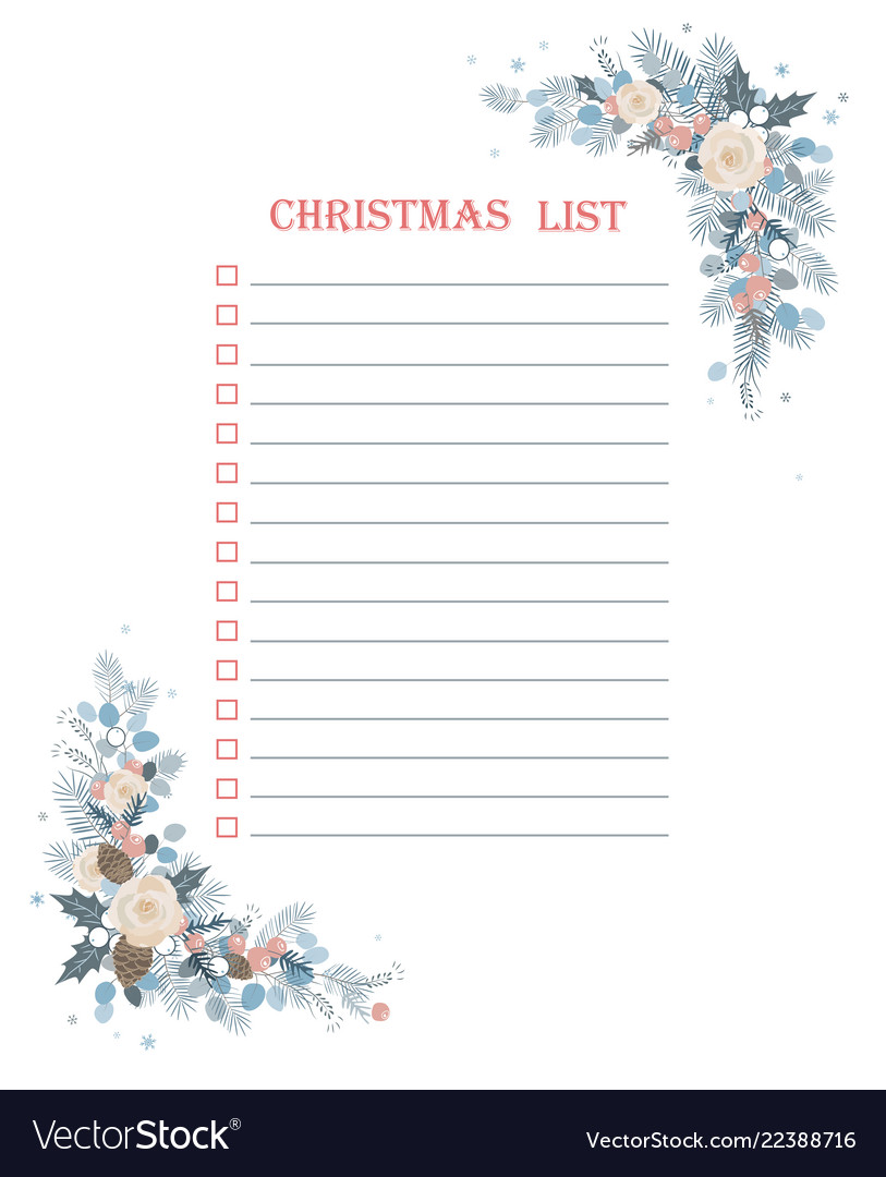 Christmas to do checklist with froral corner frame