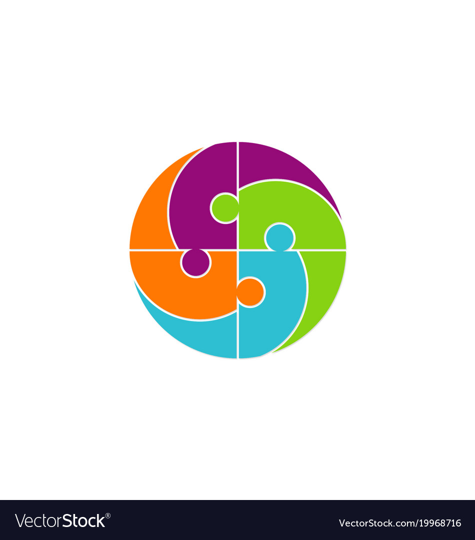Circle people puzzle logo