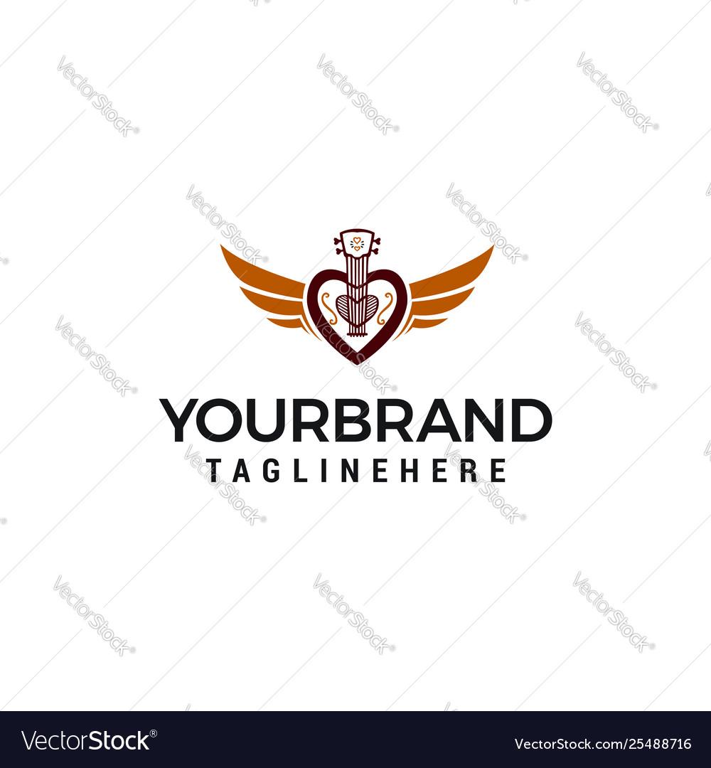 Creative love guitar logo design concept template