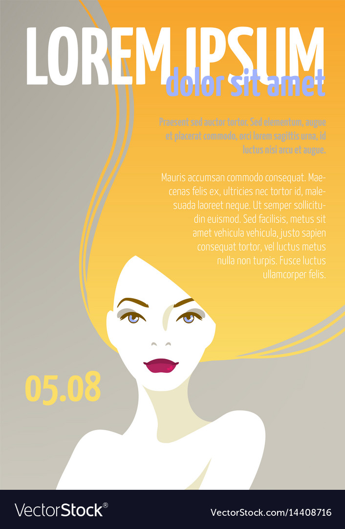 Design template with face of a beautiful woman