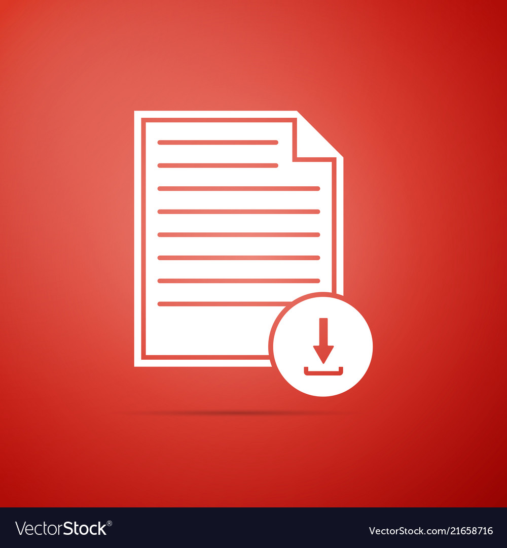 Document with download sign icon isolated