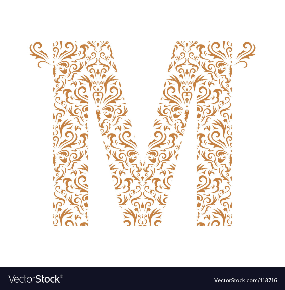 Floral Letter M Ornament Font Royalty Free Vector Image