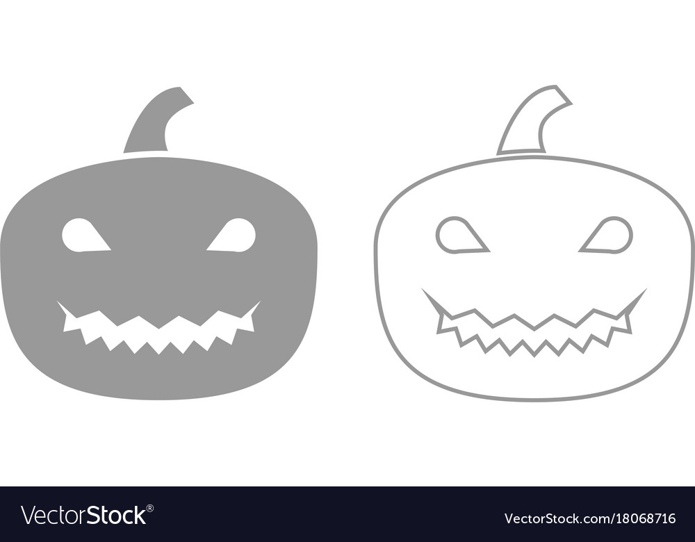 Horror pumpkin grey set icon