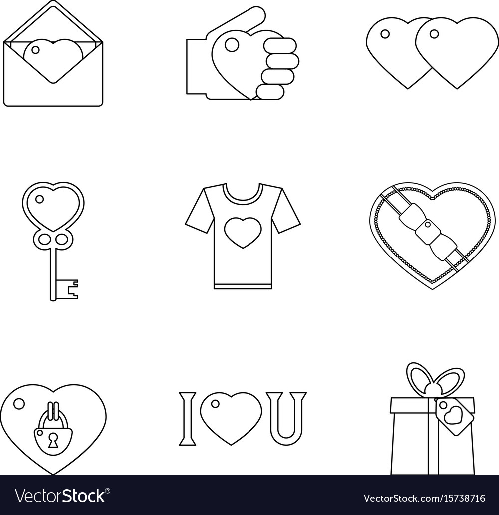 Lineart love heart icons set vector image