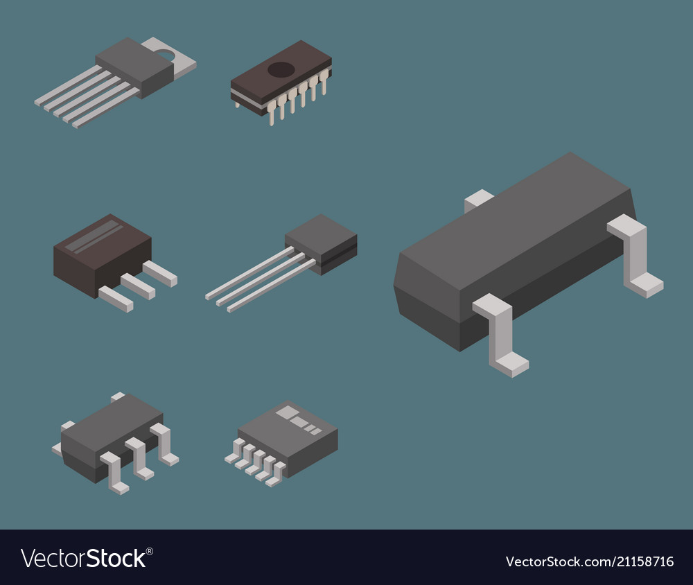 Microchip computer isometric chip